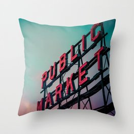 Seattle Pike Place Public Market Sign at Dawn Throw Pillow
