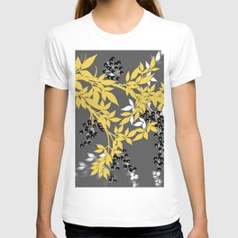 TREE BRANCHES YELLOW GRAY  AND BLACK LEAVES AND BERRIES T-shirt