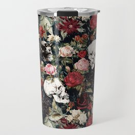 Vintage Floral With Skulls Travel Mug