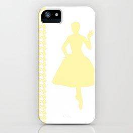 Cream Modern Houndstooth w/ Fashion Silhouette iPhone Case