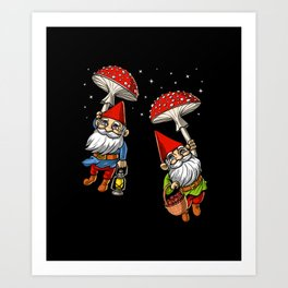 Magic Mushrooms Gnomes Trip Art Print