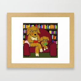 Reading dogs Framed Art Print