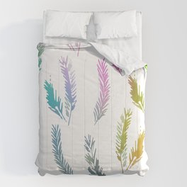 Rainbow Colored Feather Pattern Comforters