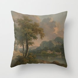 Abraham Pether - Wooded Hilly Landscape (1785) Throw Pillow