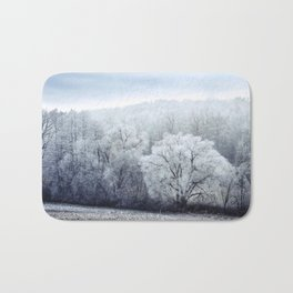 Foggy Winter Landscape with snow covered Trees Bath Mat