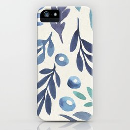 Pretty Pastel Watercolor Floral Plant pattern Teal Blue iPhone Case