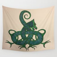 celtic Wall Tapestries featuring Celtic Dragon by Erin Malbuisson-Delaney