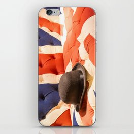 Black Bowler Hat on Union Jack Chesterfield Sofa iPhone Skin