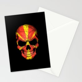 Dark Skull with Flag of Macedonia Stationery Cards