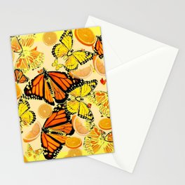 YELLOW MONARCH BUTTERFLY  & ORANGES MARMALADE Stationery Cards