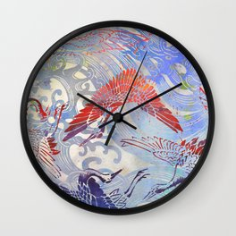 Waves and Cranes Chinoiserie Inspired Wall Art | Japanese Katagami Stencil Design in Red, Blue, Gray Wall Clock