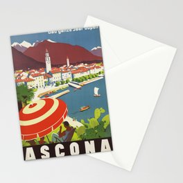 Swiss Vintage Travel Poster Midcentury Colorful Art Deco Stationery Cards