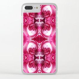 Red Rose Crop 3 Quad Fractal Patch Clear iPhone Case
