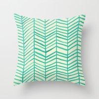 herringbone Throw Pillows featuring Mint Herringbone by Cat Coquillette