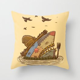 The Scarecrow Shark Throw Pillow