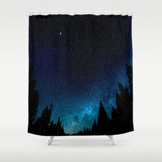Black Trees Turquoise Milky Way Stars Shower Curtain