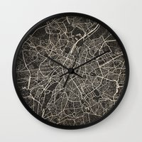 brussels Wall Clocks featuring brussels map ink lines by NJ-Illustrations