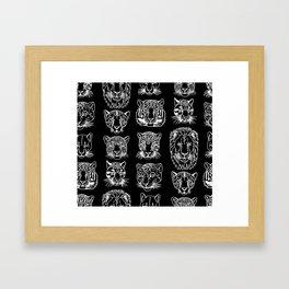 Kickass Kitties - white on black Framed Art Print