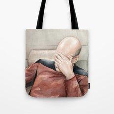 Picard Facepalm Meme Funny Geek Sci-fi Captain Picard TNG Tote Bag