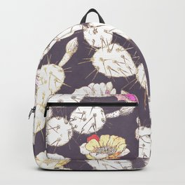 Modern white gold mauve lavender catus floral Backpack