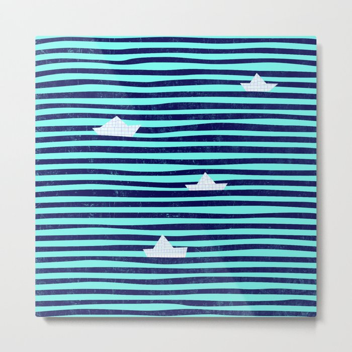 Origami boat on the blue sea Metal Print