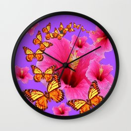 DECORATIVE MONARCH BUTTERFLIES  PINK HIBISCUS   PURPLE ART Wall Clock
