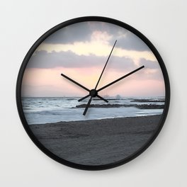 Beach Sunset Modern and Vintage Beach Aesthetic Photography of Newport Beach Colorful Pink Blue Sky Wall Clock