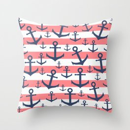 Nautical coral stripe navy blue anchor pattern Throw Pillow