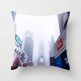 Snowy Times Square, NYC 2 Throw Pillow