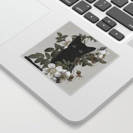 Cat With Flowers Sticker