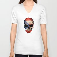 puerto rico V-neck T-shirts featuring Dark Skull with Flag of Puerto Rico by Jeff Bartels