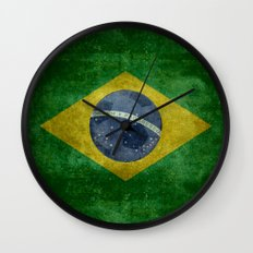 Vintage Brazilian National flag with football (soccer ball) Wall Clock