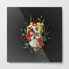 Floral Skull (Front) Metal Print