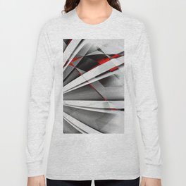Red Gray Abstractum Long Sleeve T-shirt