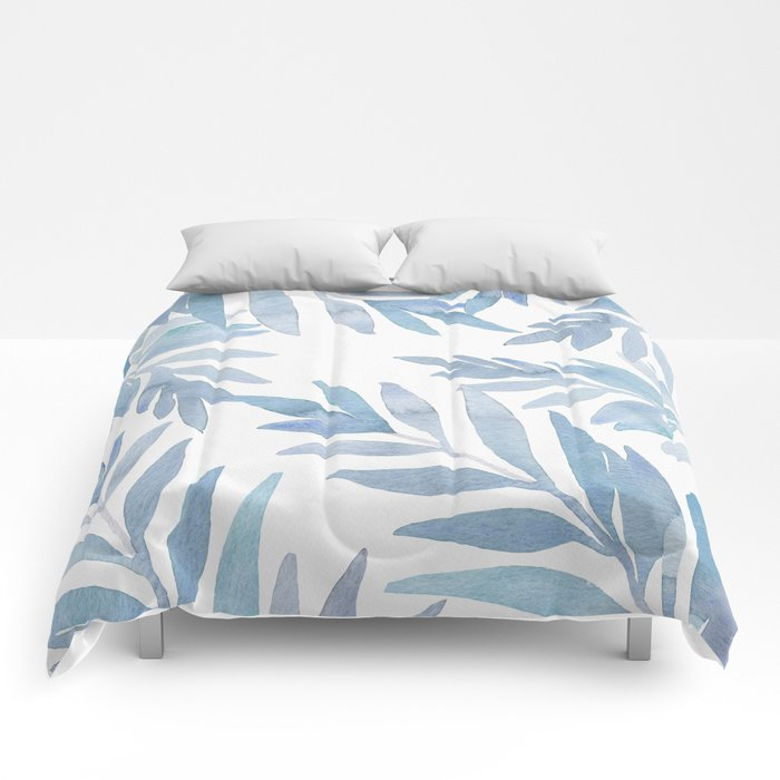 Muted Blue Palm Leaves Comforters
