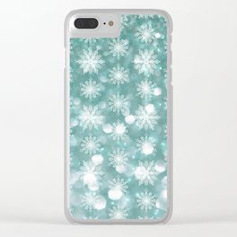 Holiday Teal and Flurries Clear iPhone Case