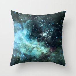 Teal Green Galaxy : Celestial Fireworks Throw Pillow