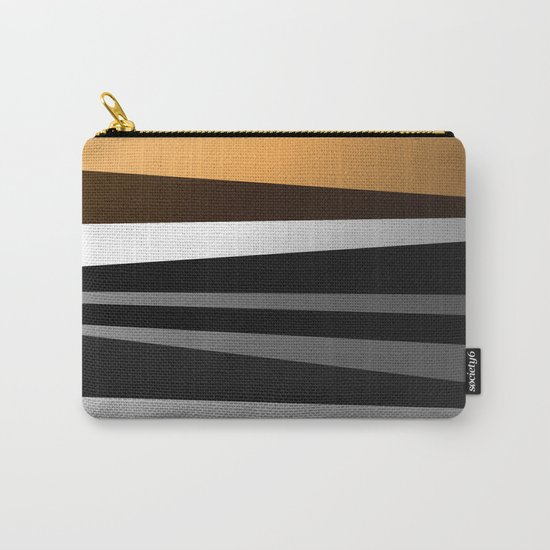Metallic II - Abstract, geometric, metallic effect stripes, gold, silver, black Carry-All Pouch
