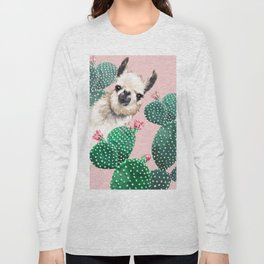Llama and Cactus Pink Long Sleeve T-shirt