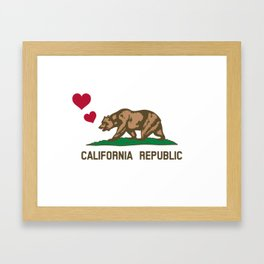 California Republic Bear with Hearts Framed Art Print