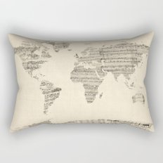 Old Sheet Music World Map Rectangular Pillow