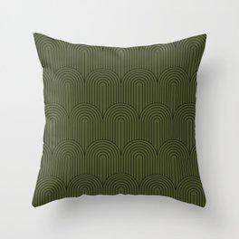 Art Deco Arch Pattern VIII - Dark Green Throw Pillow