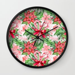 Poinsettia & Candy cane Wall Clock