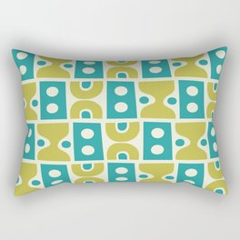 Funky Mid Century Modern Pattern 773 Turquoise and Chartreuse Rectangular Pillow