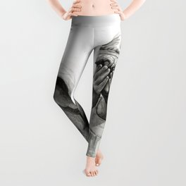 Weeping Angel Watercolor Painting Leggings