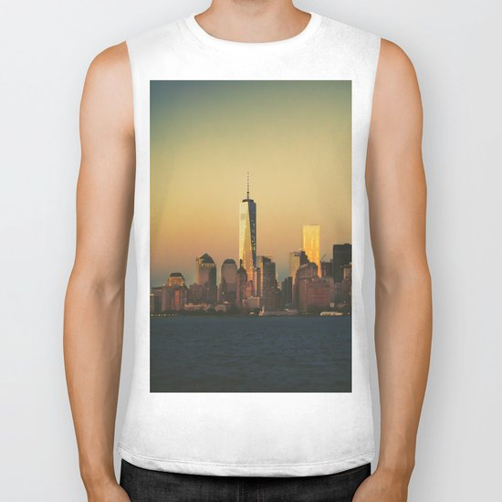 New York City Skyline - Dramatic Sunset Biker Tank