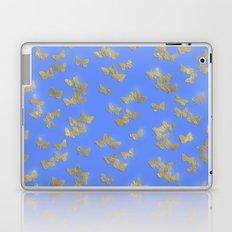 Golden butterflies on blue backround- Beautiful pattern Laptop & iPad Skin