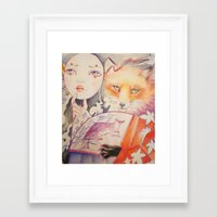 kitsune Framed Art Prints featuring Kitsune by Eszter Nagy