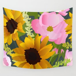 Sunflowers and Roses Wall Tapestry