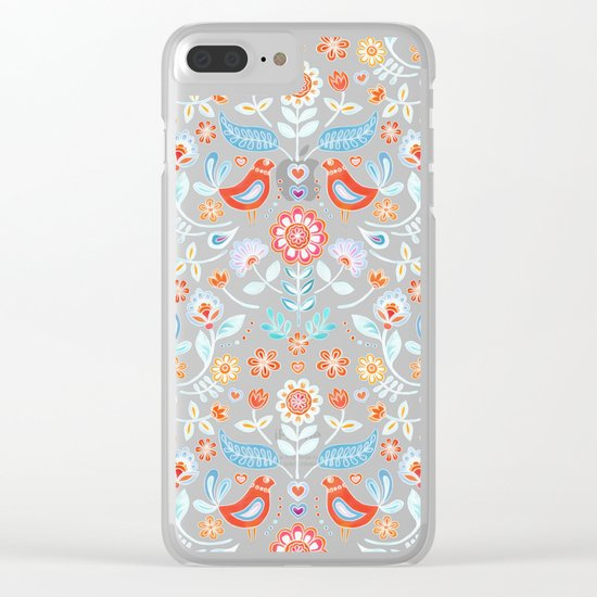 Happy Folk Summer Floral on Light Blue Clear iPhone Case
